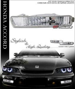 For 1994 1995 Honda Accord Euro Chrome Clear Front Signal Parking Bumper Lights