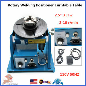 Rotary Welding Positioner Turntable 2 5 3 jaw Lathe Chuck 2 10rpm 10kg Usa