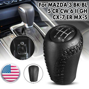 Leather 6 Speed Gear Stick Shift Knob Black For Mazda 3 5 6 Bk Cr Gh Cx 7 Mx 5