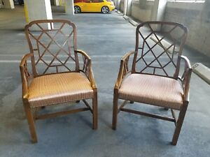 Pair Of Vintage Classic Chinese Chippendale Armchairs