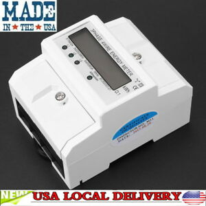 Three Phase Four Wire Din rail Kwh Electronic Energy Meter Digital Lcd 3 X 20