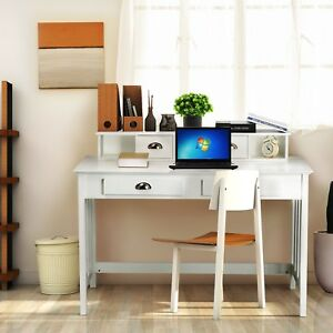 Computer Desk Writing Table Wood Workstation Study Home Furniture W 4 Drawers