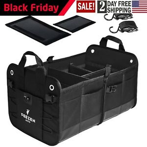 Feezen Car Trunk Organizer Best For Suv Vehicle Truck Auto Heavy Duty black