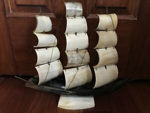 Vintage Hand Crafted Natural Cow Horn Nautical Maritime Ship Model Figure
