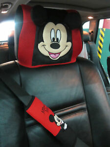 Disney Mickey Mouse Doll Toys Car Accessories Head Rest Cover Seat Cover X 2 Pcs