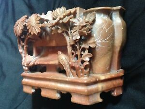 Vintage Antique Chinese Japanese Carved Stone Bird Flower Vase Table Centerpiece