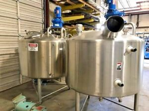2 Avail Walker 450 Gal 304 Stainless Food Grad Processor 75 Psi Jacketed Mixer