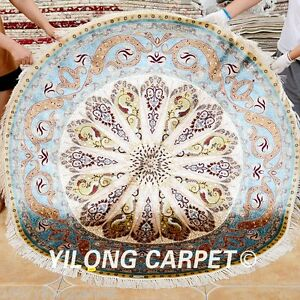 Yilong 5 X5 Persian Silk Round Rugs Hand Made Carpets Circle Hand Knotted 0352