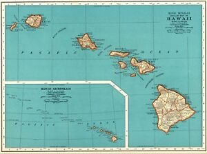 1937 Antique Hawaii Map Vintage 1930 S Map Of Hawaii Hawaiian Islands Map 5928