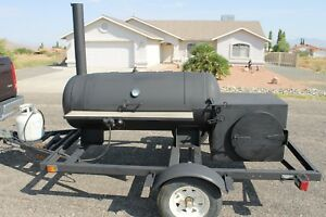 Bbq Grill And Smoker Cooker Combo On 11 6 Tow able Trailer