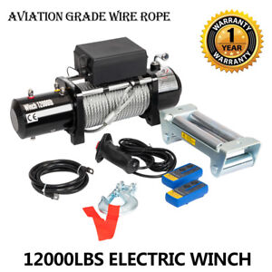 Super 12000lbs 12v Electric Winch For Truck Trailer Suv 2 Wireless Remote