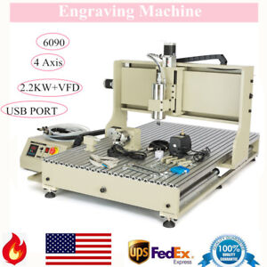 Sale Usb 4 Axis 6090 Cnc Router Engraver 3d Milling Machine 2 2kw Spindle vfd