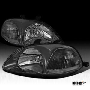 For 1996 1998 Honda Civic Smoke Tinted Headlights Head Lights Lamps Left Right