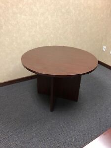 Round Conference Table By Hon Office Furniture In Mahogany Laminate 42 d