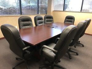 10ft L Conference Table W 8 Chairs By Hon Office Furniture
