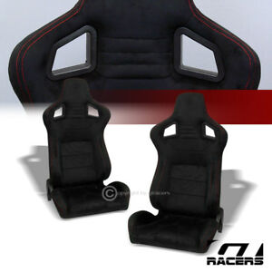 Universal Mu Blk Suede Red Stitch Reclinable Racing Bucket Seats Slider Pair G01