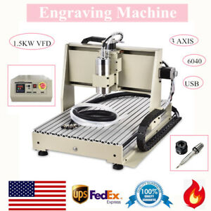 3 Axis 6040 Router Engraver Usb 1 5kw Vfd Milling Drilling Cutter Machine Us