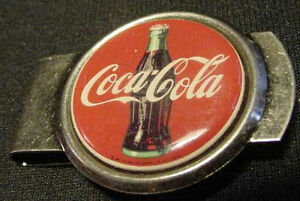 VINTAGE COKE COCA COLA SILVER MONEY CLIP SODA Bottle Advertising 70S USA