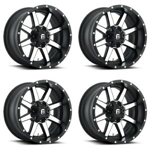 Set 4 22 Fuel Maverick D537 Black Machined Wheels 22x10 6 Lug 6x135 6x5 5 24mm