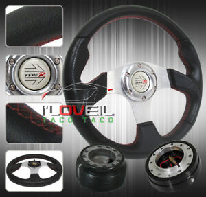 3pc Combo Quick Release Hub Bk Sl Chrome 320mm Racing Steering Wheel Civic Crx