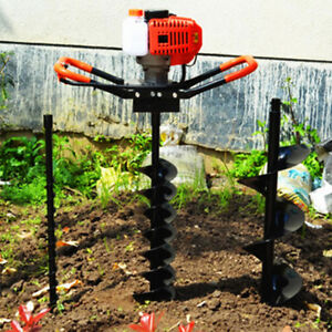 52cc Post Hole Digger Gas Powered Earth Auger Borer Fence Ground 3 Drill Bits Us