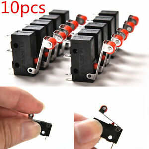 10pcs Micro Switch Roller Lever Arm 5a Ac 125v 250v Limit Kw12 3 Pcb Switch