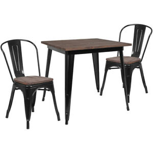 31 5 Square Black Metal Table Set With Wood Top And 4 Stack Chairs