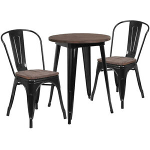 24 Round Black Metal Table Set With Wood Top And 2 Stack Chairs