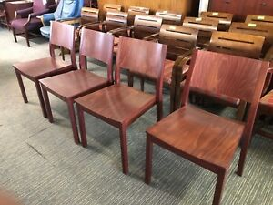 Lot Of 4 Cherry Color Wood Guest side Chairs