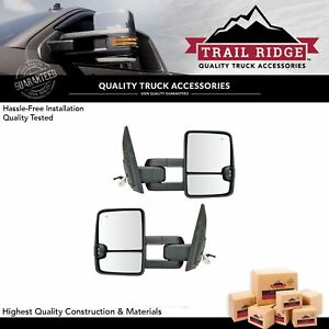 Trail Ridge Tow Mirror Upgrade Power Fold Turn Blind Spot Chrome Pair For Tundra
