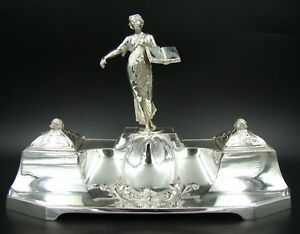 Amazing Wmf Art Nouveau Silver Plate Lady Of Justice Themis Original Glass Rare