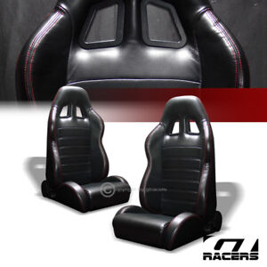 Universal 2pc Sp Blk Pvc Leather Red Stitch Reclinable Racing Bucket Seats G01a