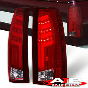 Clear Lens Neon Red Led Tail Light Lamps For 1988 1998 Chevy C10 C1500 K1500 C K