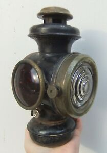 Antq B L Auto Lamp Co Ny Model T Lantern W Clear Front Red Side Lens
