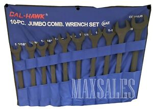 New 10pc Jumbo Sae Combo Wrench Set 1 5 16 2 Combination Black Oxide