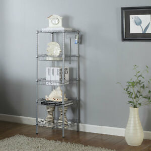 5 Layer Wire Shelving Rack Shelf Adjustable Unit Garage Kitchen Storage Bathroom