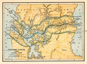 1931 Antique Map Of The Panama Canal Vintage Canal Zone Map Smap 5977