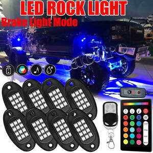 8x Rgb Led Rock Light Control Offroad Truck Under Body Glow Trail Flashing Lamp