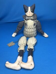 Primitive Folk Art Ooak Kitty Cat Shelf Cloth Doll Country Petaller Maryland