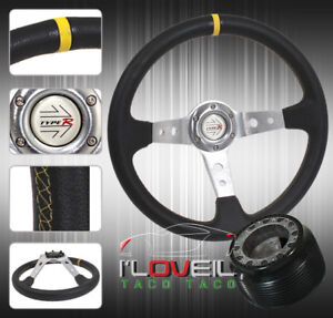 350MM DEEP CONCAVE DISH 3 SPOKED ALUMINUM STEERING WHEEL For 89-98 Nissan 240SX