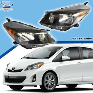 Fits 2012 2014 Toyota Yaris Hatchback Black Headlights Lamps Headlamps Pto Rico