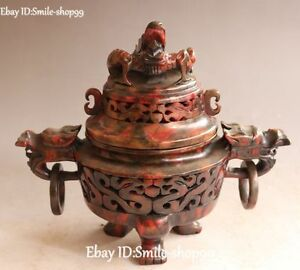 9 Chinese Old Jade Carved Dynasty Palace Dragon Loong Incense Burner Censer