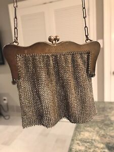 Antique Sterling Silver Art Nouveau Mesh Purse 4 5 Oz
