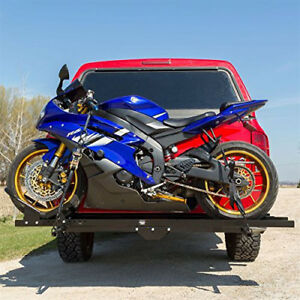 2 Receiver Hitch Mounted Premium S S Bike Motorcycle Carrier Trailer Cargo Ramp