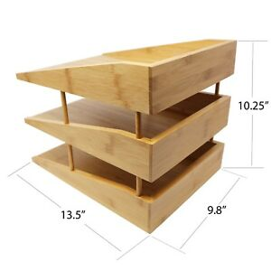 Bamboo Desk File Tray Office Organizer Sorting Stacking Letter Paper Supplies