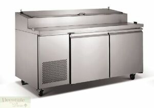 Pizza Salad Sandwich Prep Table 71 Refrigerated 2 Doors 9 Pans Stainless New