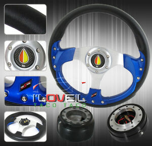 320mm Pvc Leather Blue Wrapped Steering Wheel Hub Kit Jdm Advanced Horn Button