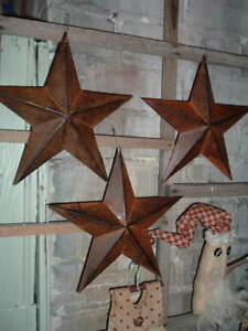 Three 8 Rusty Metal Barn Stars Rustic Americana Primitive Crafts
