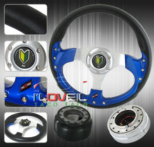 320mm Blue Steering Wheel Polished Quick Release Hub Adapter Newbie Horn
