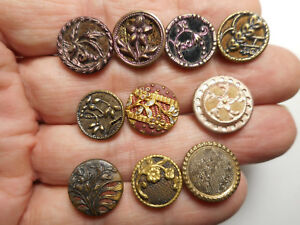 12 Tinted Fabric Backed Perfume Brass Victorian Antique Buttons 1 2 To 5 8